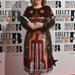 Adele celebrated her Brit Awards success changing into a stunning stars and stripes glitzy and sparkly dress by Valentino. (Photo: WENN)