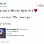 Just a couple weeks ago, Mac Miller gushed about Ariana Grande on Twitter when she released her new single No Tears Left To Cry. (Photo: Twitter)