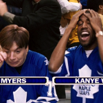 """After comparing himself to Picasso, West went full Kanye and decided the best way to cement his credibility as a serious artist was to appear with Mike Myers infamously screaming """"I love hockey"""" on """"The Love Guru."""" (Photo: Release)"""