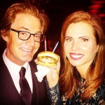Twin Peaks actor Kyle Maclachlan turned 56 the same day as Oscars 2015, so his wife Desiree Gruber stuck a few candles in his burger at the Vanity Fair bash. (Photo: Instagram)