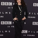 Bonham Carter attended the BBC Films 25th Anniversary Reception wearing an all-black outfit featuring baggy trousers and star-studded shoes. (Photo: WENN)