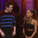 Grande and Davidson met after she hosted SNL in 2016. Pete joined Ari in her opening monologue. (Photo: WENN)