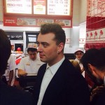 """What do you do after a magical night after the AMA's?"" Sam Smith asked. You guessed it: In-N-Out, of course! (Photo: Instagram)"