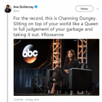 "Ava DuVernay celebrated Channing Dungey's decision to cancel ""Roseanne"". (Photo: Twitter)"