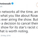 The New York Time's chief television critic James Poniewozik applauded ABC's decision to cancel their highest-rated show. (Photo: Twitter)