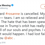 "Actress Debra Messing celebrated the cancellation of ""Roseanne"" and thanked ABC for its decision. (Photo: Twitter)"