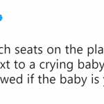 Please just hold her while I got to First Class and have a cocktail. (Photo: Twitter)