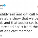 The actress also reacted to the cancellation of the show. (Photo: Twitter)
