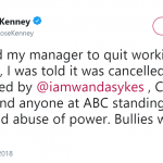 Kenny also took to Twitter to praise ABC for axing the sitcom. (Photo: Twitter)