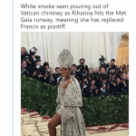White smoke seen pouring out of Vatican chimney. (Photo: Twitter)