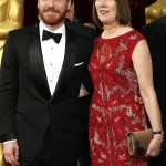 Michael Fassbender and his mom Adela Fassbender walking down the red carpet of the 86th Academy Awards. (Photo: WENN)