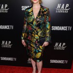 "Hendricks showed her cleavage in a jungle print matching jacket and pencil skirt suit at the premiere party for her Sundance TV series ""Hap and Leonard."" (Photo: WENN)"