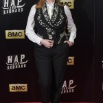 "Christina opted for a menswear-inspired look donning a black floral-embroidered waistcoat paired with white blouse and tuxedo trousers at the premiere of ""Hap and Leonard."" (Photo: WENN)"