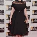 Christina wowed in a vintage-inspired black dress with sheer fabric around the shoulders and neck, as well as sheer frill along the hem for added chicness. (Photo: WENN)