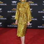 "Cate looked surprisingly fashionable at the ""Thor: Ragnarok"" worldwide premiere in a sparkling gold turtle neck dress by Gucci paired with black pumps. (Photo: WENN)"