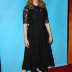 "Christina Hendricks joined her ""Good Girls"" co-star to speak their panel during the NCB-universal portion of the 2018 Winter Press Tour wearing a n ankle-length black lace dress. (Photo: WENN)"