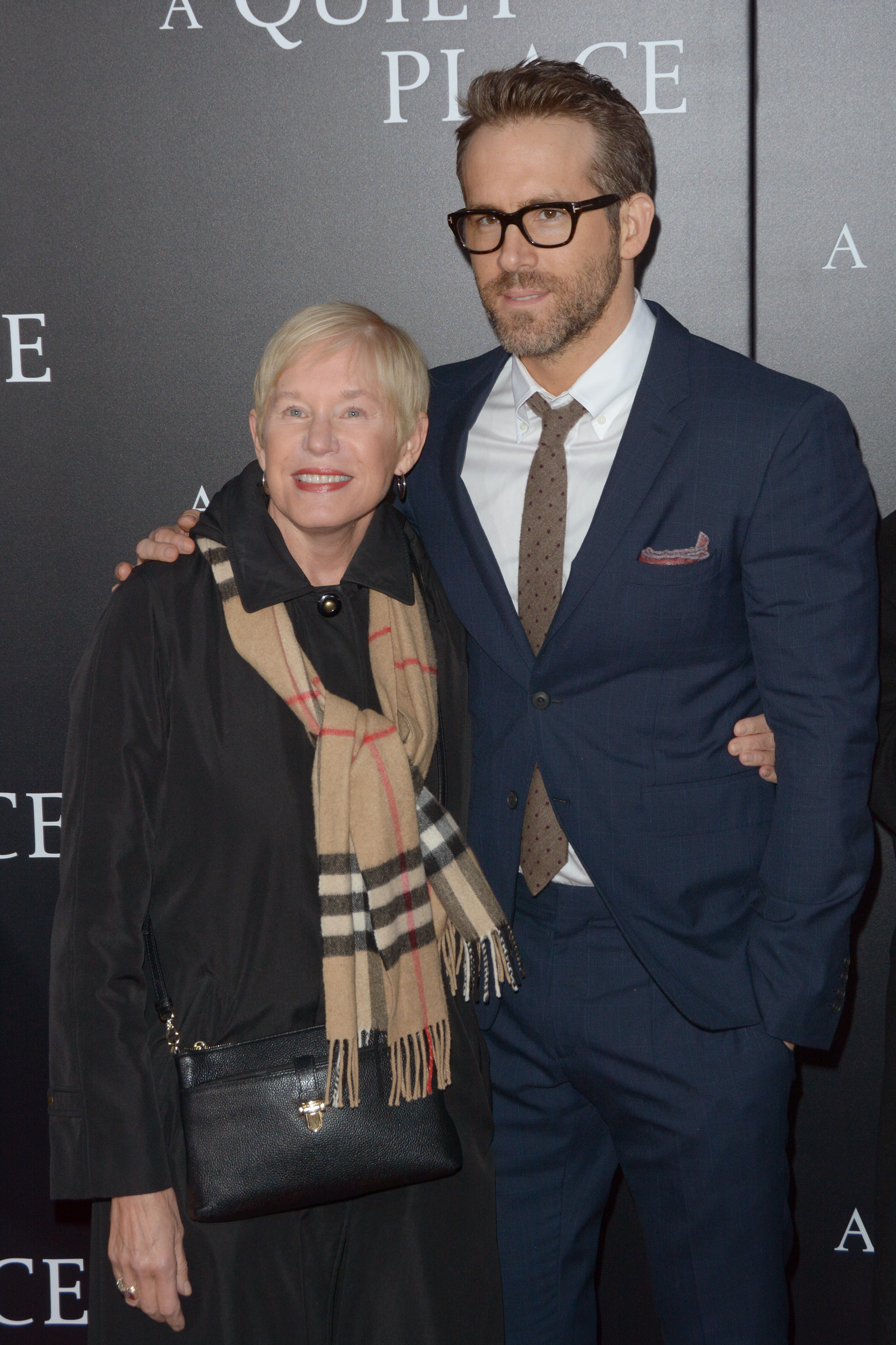 Ryan Reynolds and her mom Tammy at the New York premiere of A Quiet Place. (Photo: WENN)