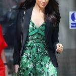 Markle looked ready for summer during an official event at the Australia House in London wearing a stunning low-cut green pleated dress and black blazer. (Photo: WENN)