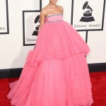 Rihanna turned heads in a ginormous puffy pink princess gown by Giambattista Valli at the 2015 Grammy Awards. (Photo: WENN)