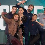 "The Aquaman and friends posing for a truly heroic group selfie at the London photocall for DC Comic's movie ""Justice League."" (Photo: WENN)"