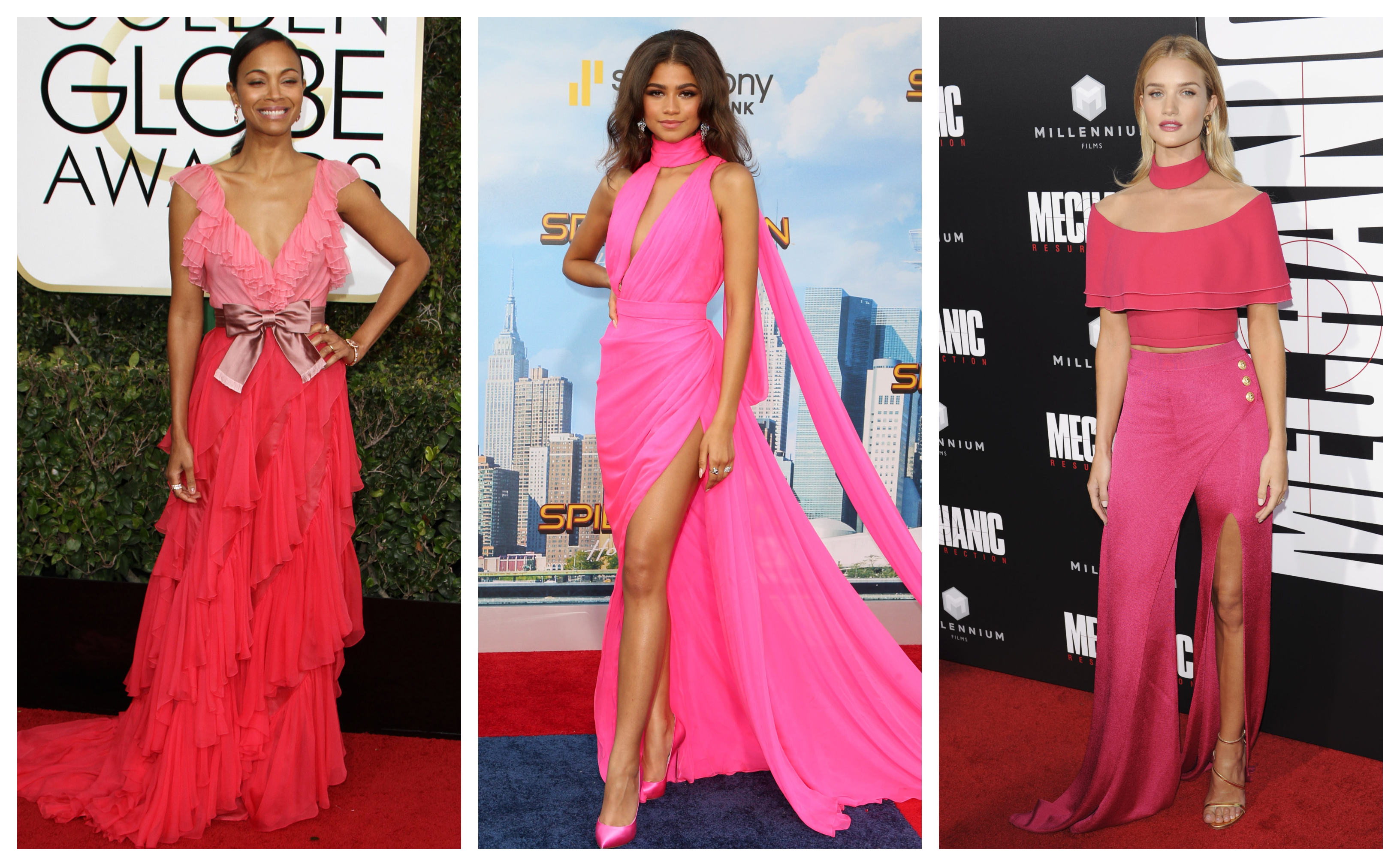 No female celebrity can resist the urge to channel their Barbie girl with a powerful pink hue gown. (Photo: WENN)