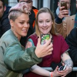 Pink taking a selfie outside BBC Radio studios in London, fangirling over a fan who had a massive portrait tattoo of her face. (Photo: WENN)