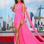 "Zendaya showed up at the ""Spider-Man: Homecoming"" premiere looking like a Barbie in a millennial pink epic draped gown custom made by Ralph & Russo. (Photo: WENN)"