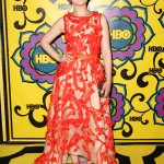 Ginnifer Goodwin set the Emmy 2012 red carpet on fire with a Monique Lhuillier gown with round neck, tight waist, and flared skirt covered in orange floral detailing. (Photo: WENN)