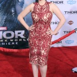 "Kate opted for a beautiful red lace cocktail dress paired with nude suede pumps for the L.A. premiere of Marvel's ""Thor: The Dark World."" (Photo: WENN)"