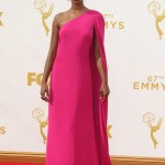 Orange Is The Black's Samira Wiley knocked it out of the park wearing a hot pink Christian Siriano one-shoulder gown with accent cape at the 2015 Emmy Awards. (Photo: WENN)