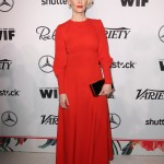 Sarah Paulson made a statement in a fiery orange, long sleeve, ankle length dress at the red carpet of Variety and Women in Film Emmy 2016 party. (Photo: WENN)