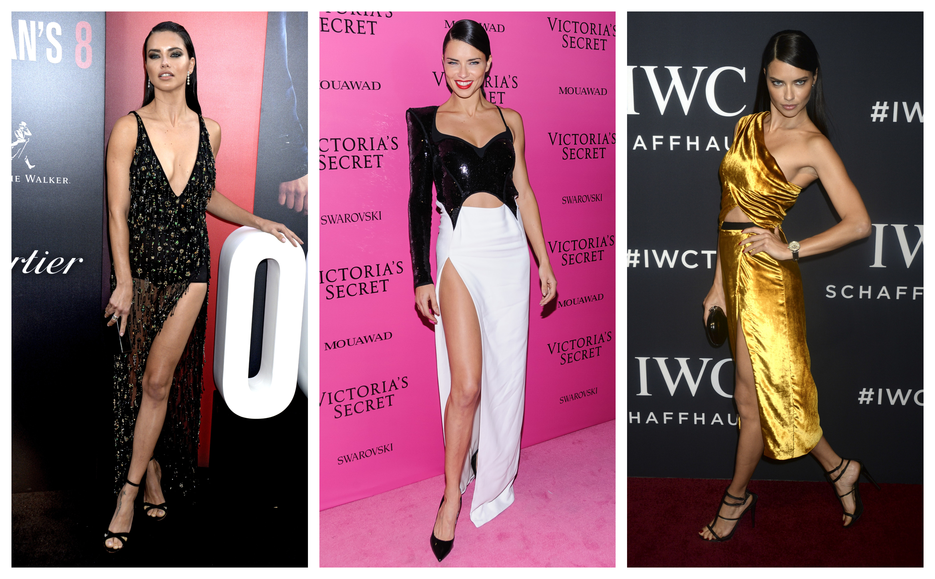 With plunging necklines and sky-high thigh slits, Adriana Lima proves that a night gown can be just as sexy as the tiniest lingerie. (Photo: WENN)