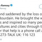 Gordon Ramsey used his platform to share the hot lines for suicide. (Photo: Twitter)