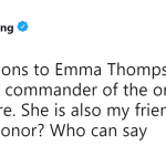 Obviously being your friend, your majesty. Ma'am? Your highness? I don't know how to address the queen. (Photo: Twitter)