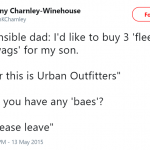 "*Sensible dad gives the ""peace"" sign* (Photo: Twitter)"