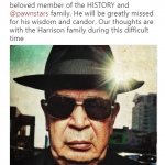 "The History Channel confirmed the passing of Richard ""The Old Man"" Harrison via Twitter. (Photo: Twitter)"