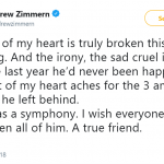 Fellow culinary icon Andrew Zimmern took to Twitter to lament the loss of Bourdain. (Photo: Twitter)