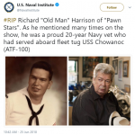 The U.S. Naval Institute paid its respects to 20-year Navy veteran Richard Harrison. (Photo: Twitter)