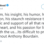 Actor Elijah Wood said it's difficult to imagine a world without Anthony Bourdain. (Photo: Twitter)