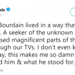 Pretty Little Liars star Lucy Hale celebrated Anthony Boudain's life in a tweet. (Photo: Twitter)