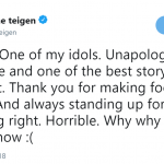 Model Christine Teigen took to Twitter to mourn the dead of one of her icons. (Photo: Twitter)