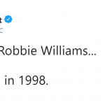 It's 2018 and Robbie Williams is right there living in 1998. (Photo: Twitter)