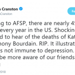 Bryan Cranston encouraged his followers to be more aware of people who are suffering from depression. (Photo: Twitter)