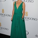 Natalie Portman look elegant in a flawless plunging Lanvin gown in bright green hues at the de Grisogono in Cannes party. (Photo: WENN)