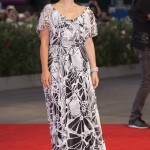 "Natalie Portman donned a floor-grazing white and black floral Valentino Gown at the Venice Film Festival premiere of ""Jackie."" (Photo: WENN)"