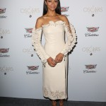 The actress joined Cadillac's Oscar Week 2017 celebration in an interesting Jonathan Simkai cream-colored leather dress with lace-up ruffled sleeves and neckline. (Photo: WENN)