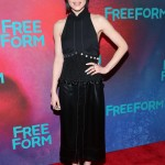 "The ""Pretty Little Liars"" star attended the Freeform 2017 Upfront wearing an all-black outfit by 3.1 Phillip Lim which consisted of a halter top and matching pencil skirt. (Photo: WENN)"