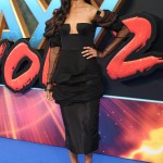 Zoe Saldana brought fashion A-game for the U.K. premiere of Guardians of the Galaxy 2 in a black voluminous blouse with ruched sleeves by Ulyana Sargeenko. (Photo: WENN)