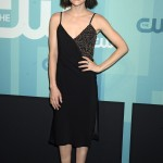 The actress gave the classic little black dress her own twist with this strappy number with sparkling top at the CW Network's 2017 upfront event. (Photo: WENN)