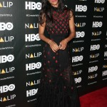The actress turned heads in a strawberry print Giambattista maxi-dress cinched in her tiny waist with a black bow-tie at the NALIP Latino Media Awards 2017. (Photo: WENN)